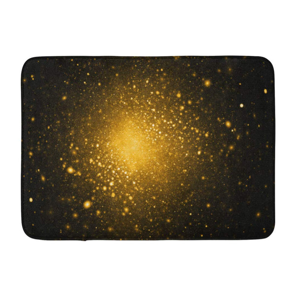 Abstract Golden Sparkles Black Fantasy Fractal Digital Art Bath Mats