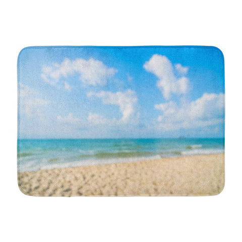 Abstract Beautiful Beach and Sea Sky Blue Day Bath Mats