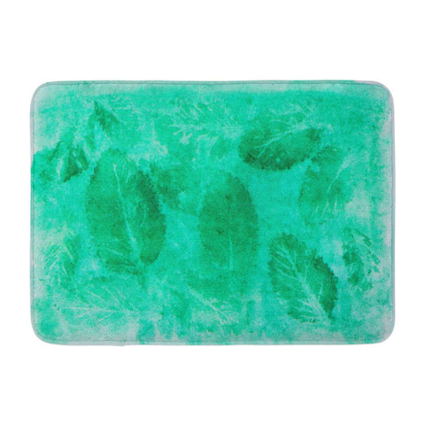 Abstract Green Watercolor Art Frame Color Splashing Cool Tone Bath Mats