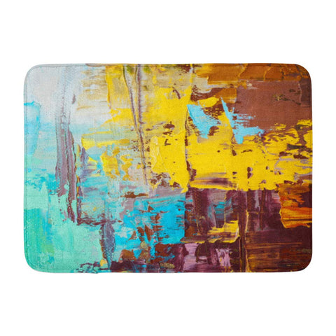 Abstract Art Oil Canvas Green Yellow and Brown Spots Bath Mats
