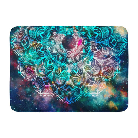 Abstract Ancient Geometric with Star Field and Colorful Bath Mats