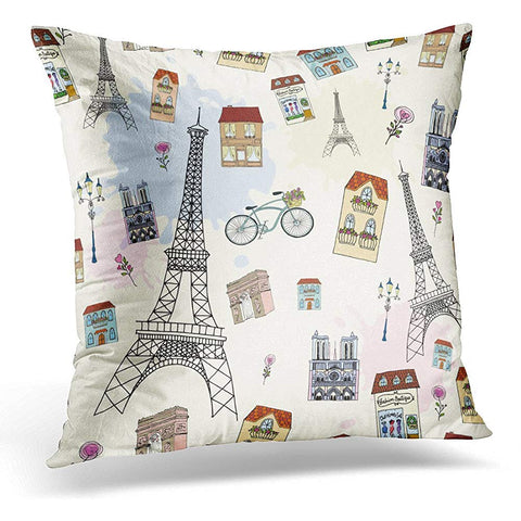 Architecture Paris Bike Building City Cityscape Throw Pillow Cover