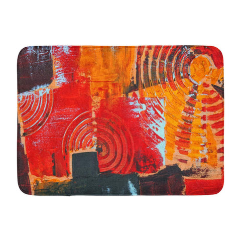 Abstract Colorful Oil Canvas Geometric Art Bath Mats