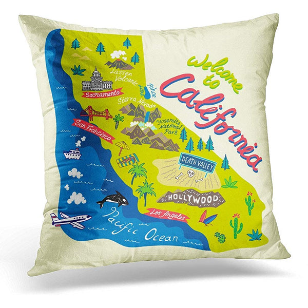 Angeles Cartoon Map of California Travels Los Throw Pillow Cover