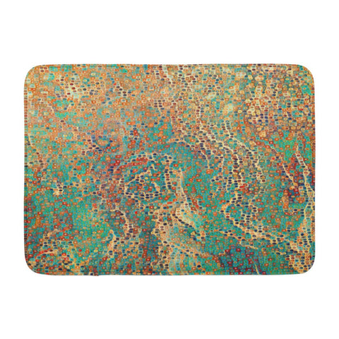 Abstract Acrylic with Cell Canvas Blue Ink Bath Mats