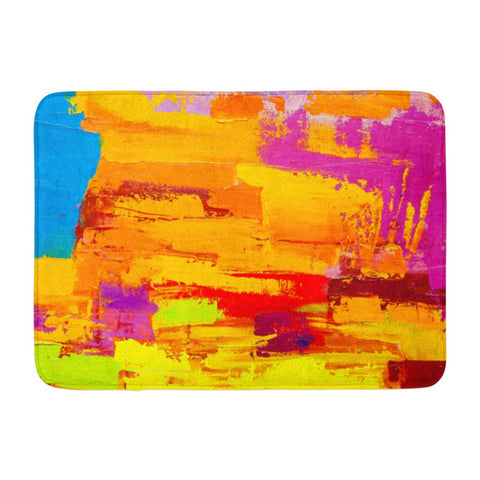 Abstract Art Oil Canvas Spots Modern Bath Mats