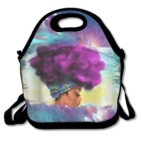 Accessories African Women with Purple Hair Lunch Bags