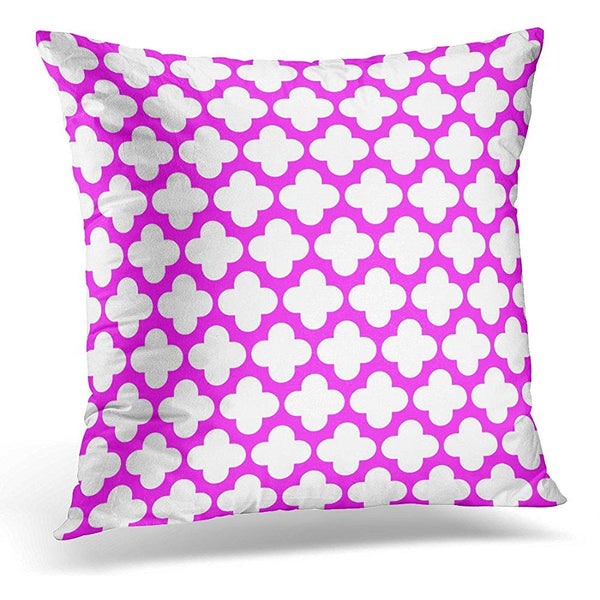 Abstract White on Magenta Quatrefoil Graphic Throw Pillow Cover