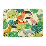 Abstract Animal Birds with Palm Leaves Toucans and Bath Mats