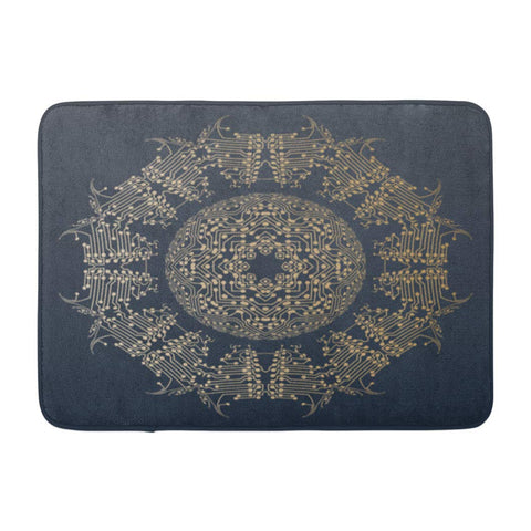 Abstract Golden Mandala with Dots and Lines Structure Digital Bath Mats
