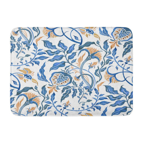 Abstract Flower Floral Watercolor Paisley Traditional Bath Mats