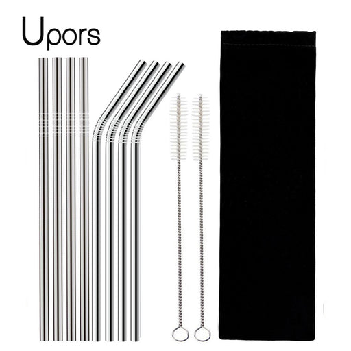 8Pcs Stainless Steel Reusable Drinking Straw with Cleaner Brush