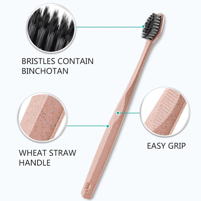 Eco Friendly Wheat Straw Toothbrush Set With Charcoal Bristle + Whitening
