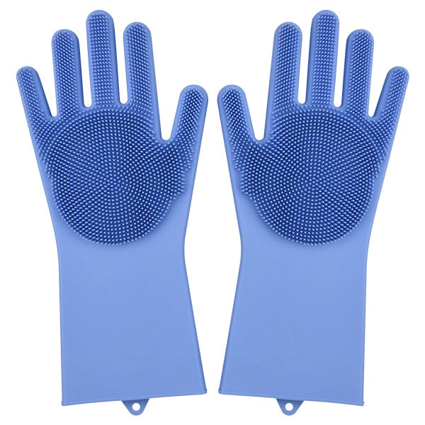 Magic Silicone Dish Washing Gloves Silicone Eco Friendly Scrubbing Gloves For Kitchen Bathroom Household Cleaning