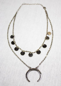 Women's double Layered bull horn necklace