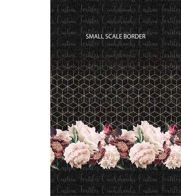 MAY RETAIL- Black and Pink Floral Border Print SMALLER SCALE - All Bases