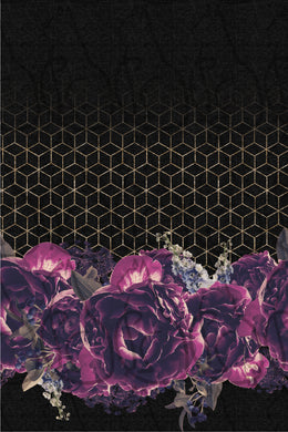 MAY RETAIL - Purple on Black Floral Border Print - All Bases