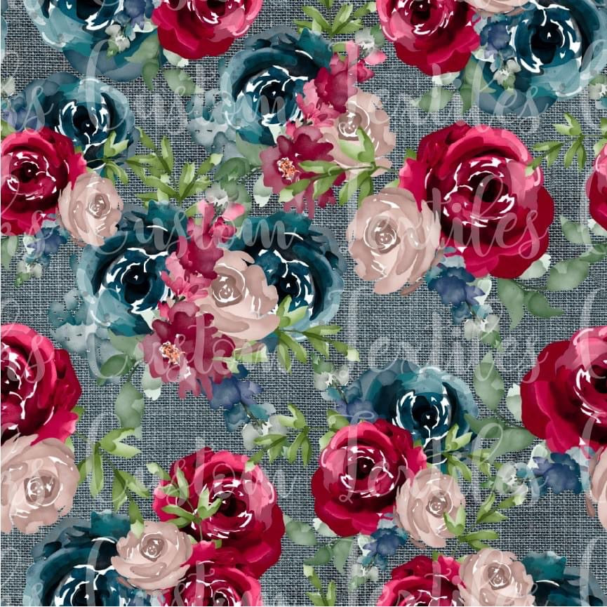 FEBRUARY RETAIL - Navy and Burgundy Flowers- Available in Cotton Lycra and Bamboo Lycra.
