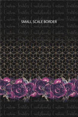 MAY RETAIL- Purple on Black Floral Border Print SMALLER SCALE - All Bases