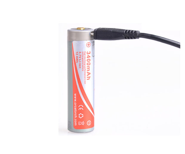 OrcaTorch 18650 USB Rechargeable Battery 3400mAh - OrcaTorch Dive Lights