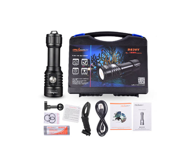 OrcaTorch D820V 1600 Lumens USB Charging Video Dive Light for Underwater Photography/Videography - OrcaTorch Dive Lights