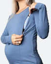 ** CLEARANCE ** Maternity Top - Bamboo Long Sleeve Baltic Blue