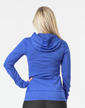 rear view of a pregnant woman wearing a blue breastfeeding hoodie