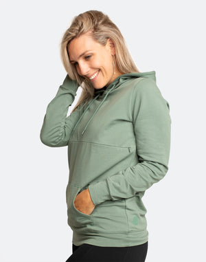 front on view of a pregnant woman wearing a khaki breastfeeding hoodie