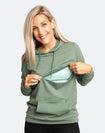 close up of a mother wearing a khaki breastfeeding hoodie with the zip down for easy breastfeeding