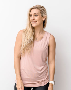 mum in a blush colour breastfeeding top front on view