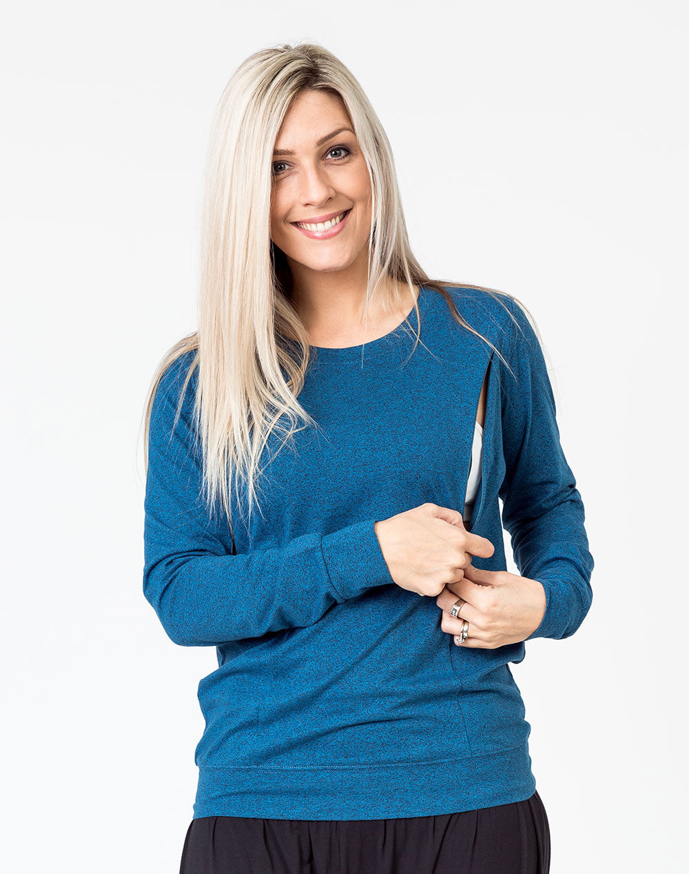 navy maternity top with long sleeves and invisible zip unzipped to breastfeed