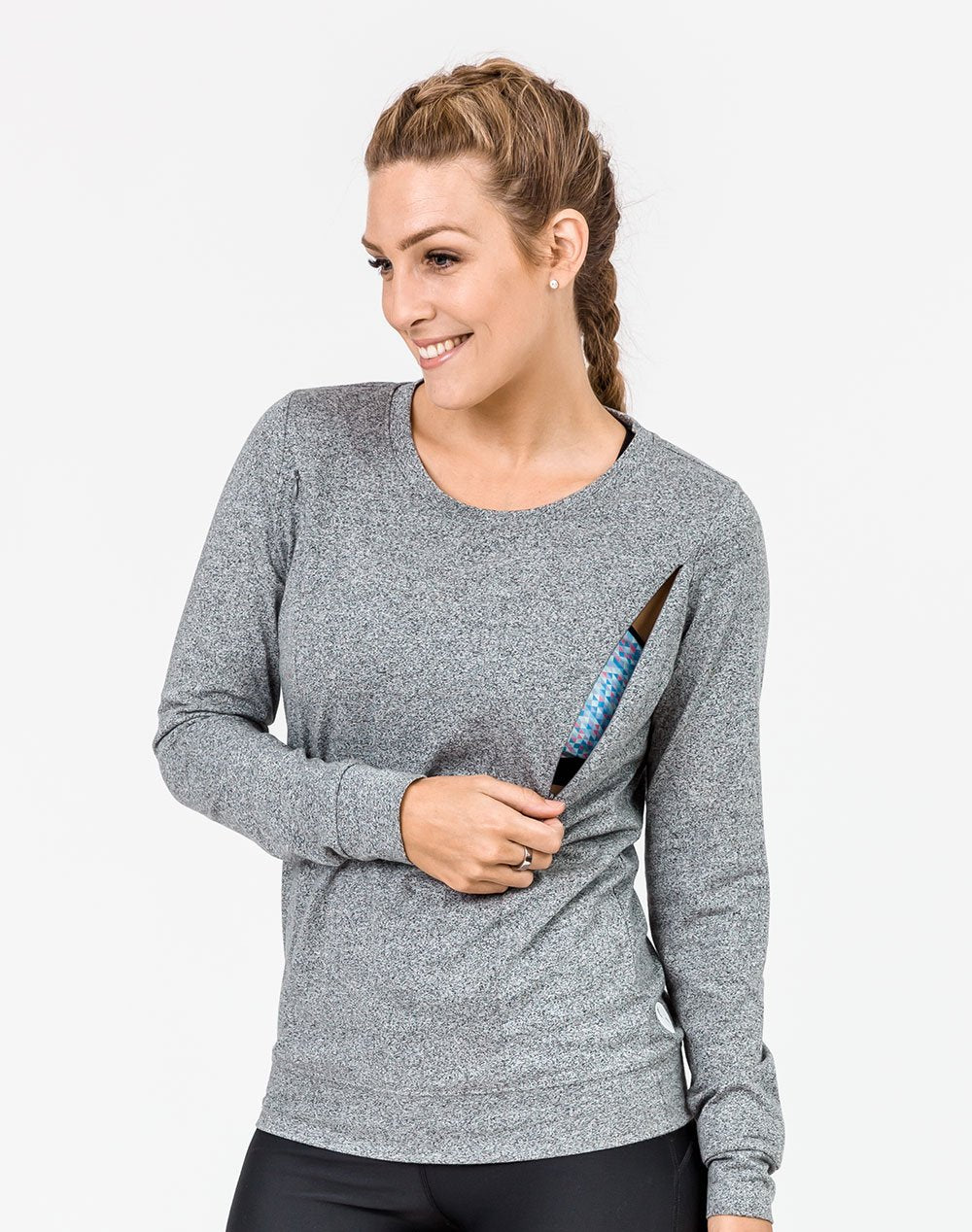 active mum wearing a grey crew neck maternity top with invisible zips unzipped to breastfeed