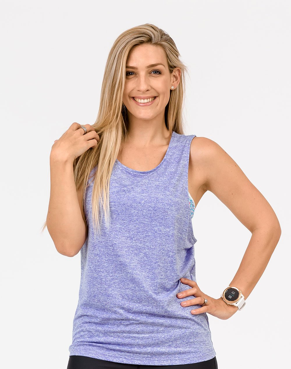 active mum wearing a lilac breastfeeding top free n active tank