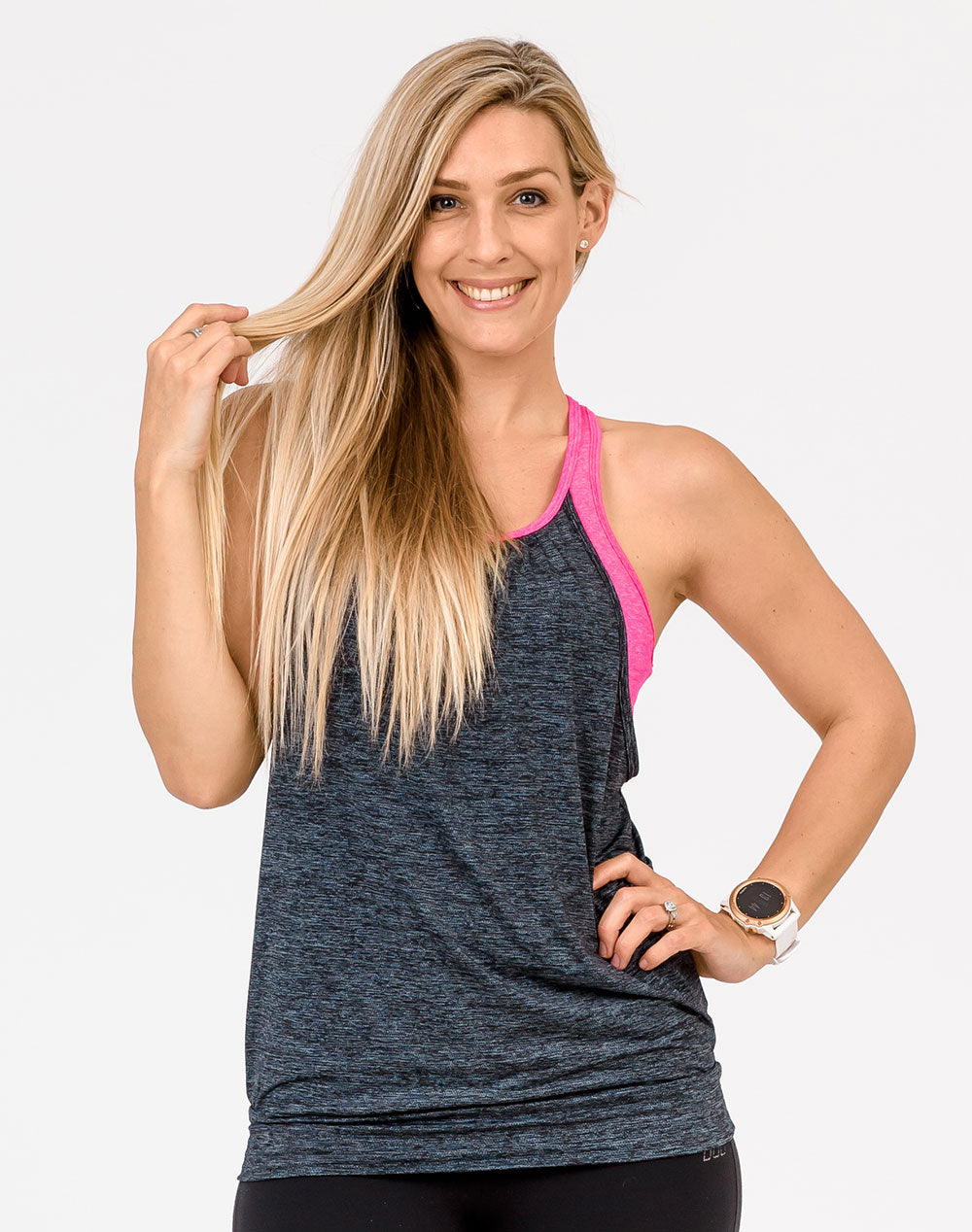 active mum wearing a grey and pink breastfeeding top loose fit tank