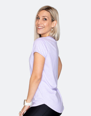 rear view of a lilac breastfeeding t-shirt for exercising in during motherhood