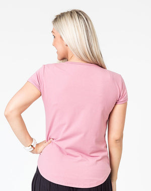 back view of pink scoop breastfeeding t-shirt