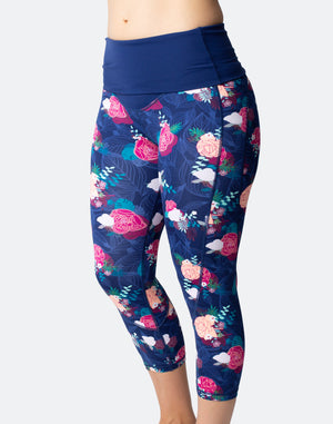 high waist tights flower print
