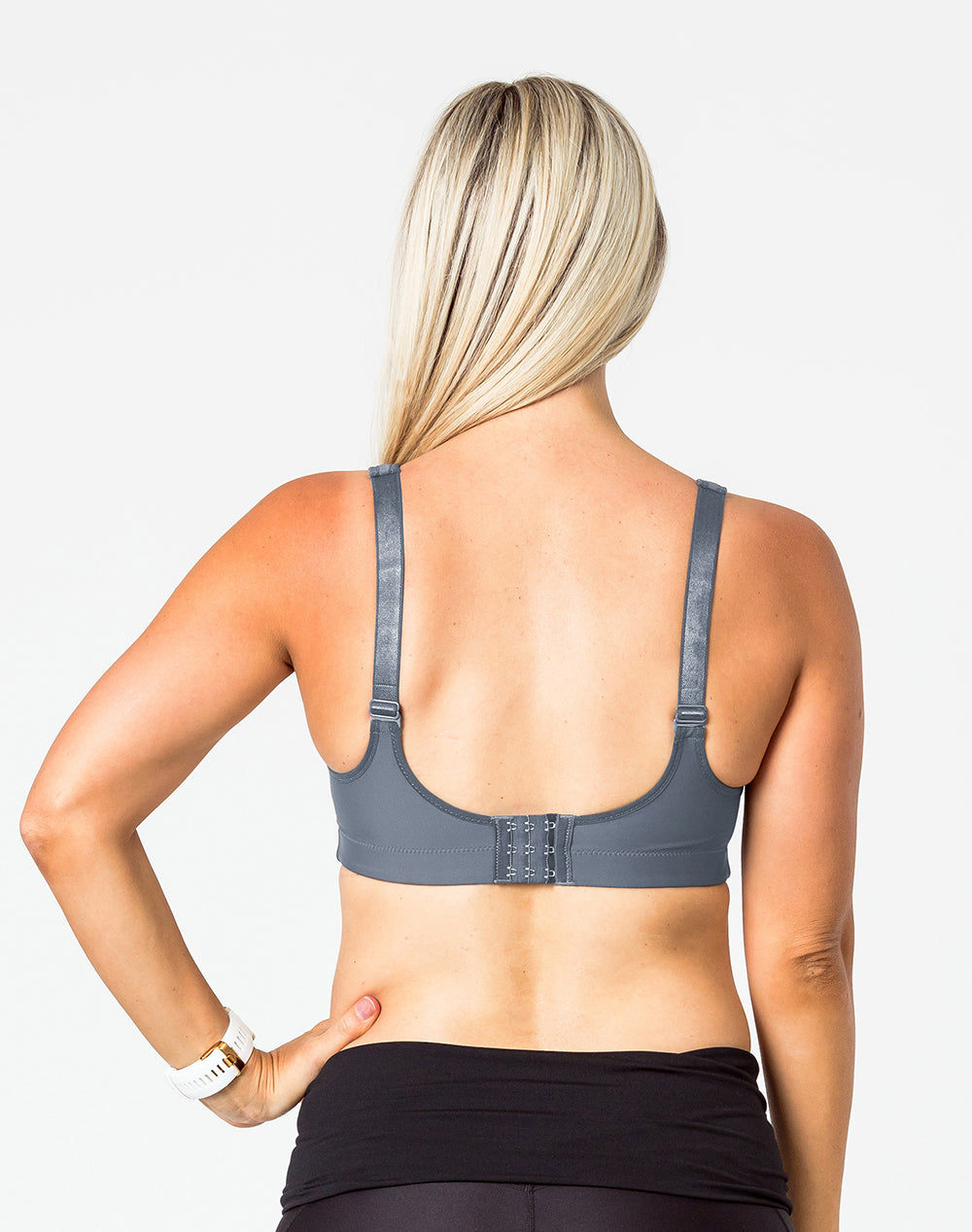 back view of a woman wearing a cute charcoal nursing bra