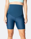 front view of non pregnant woman wearing high waisted bike shorts