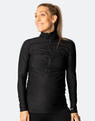 long sleeve breastfeeding top with zip front high neck