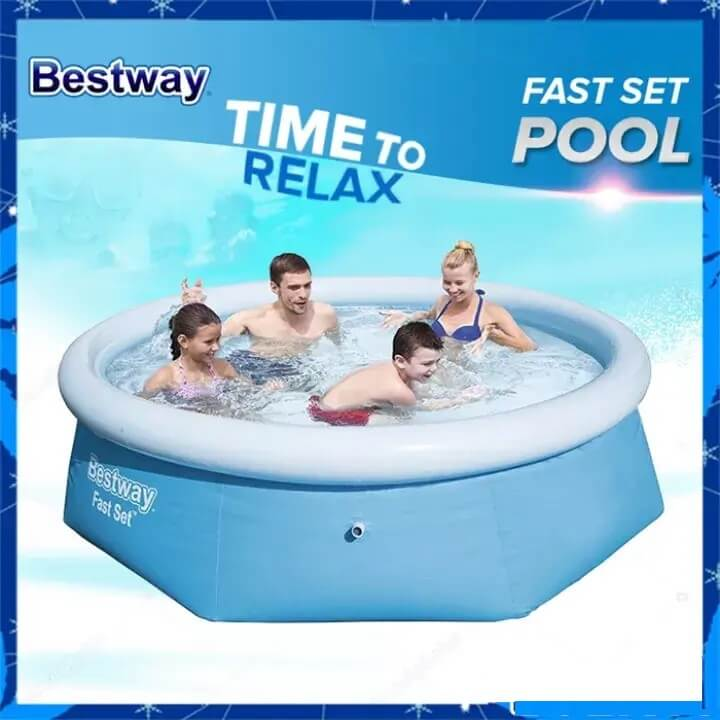 8ft x 27 inches FAST Setup Round Family Pool Set w/ FREE Air Pump