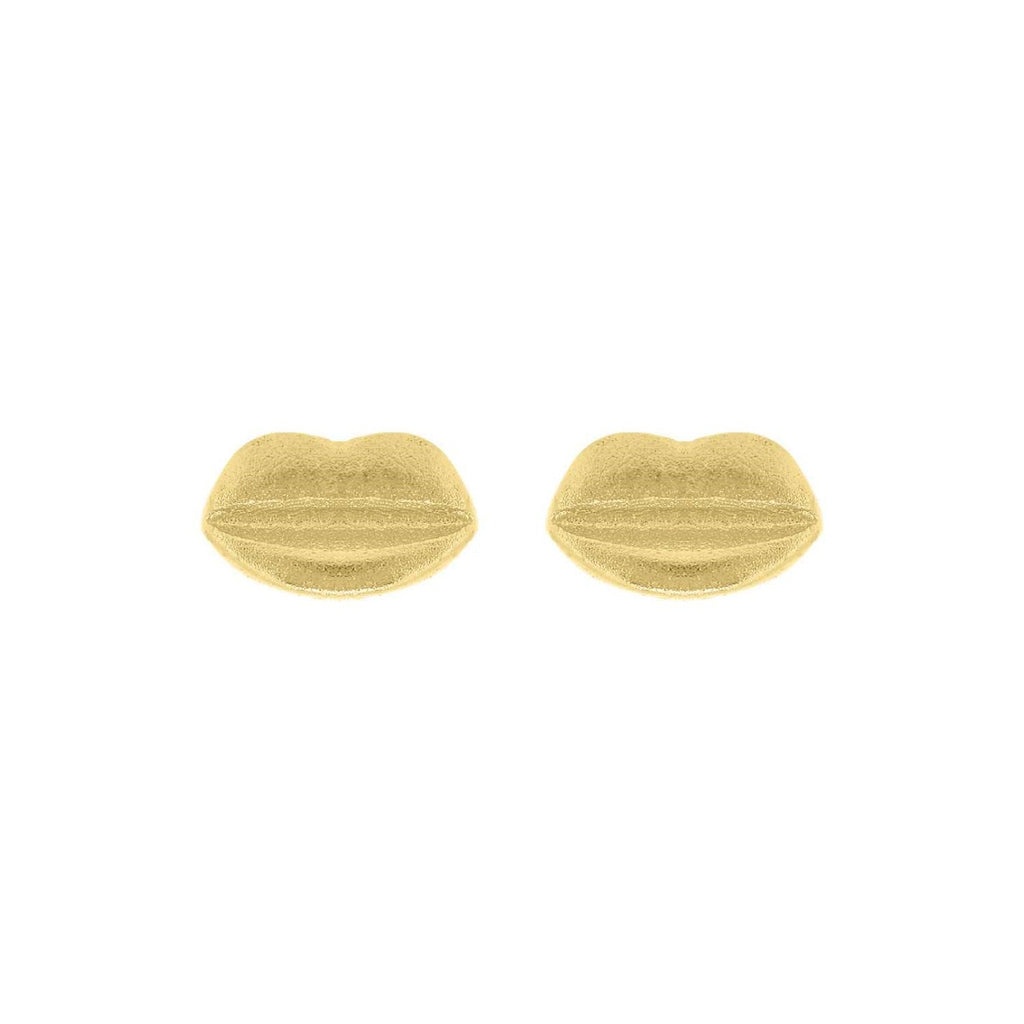 Small gold-plated silver lips earrings