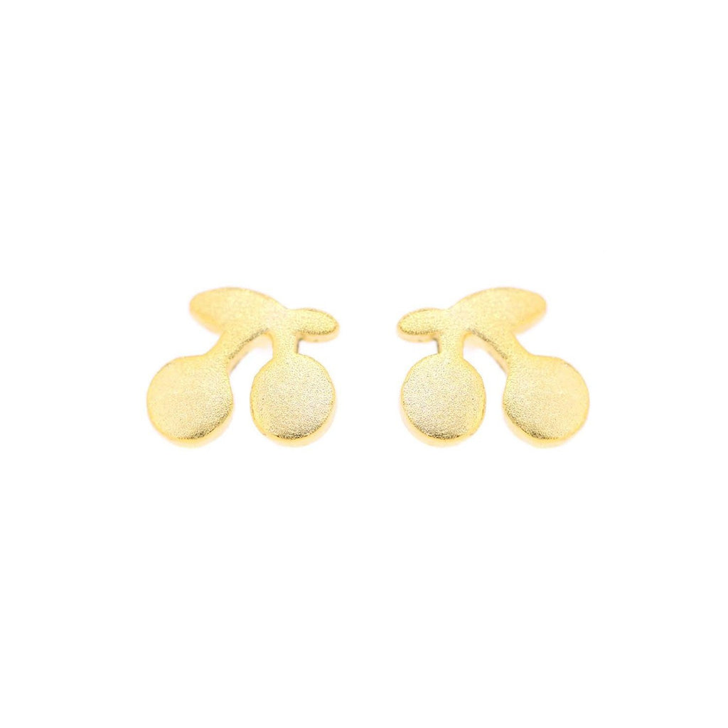 Small gold-plated silver cherry earrings
