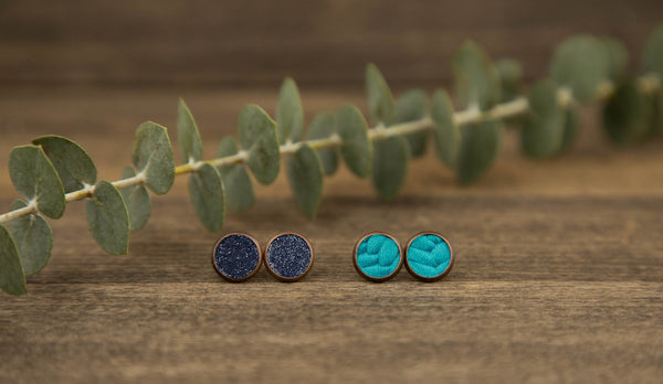 Blue Genuine Leather Braided Stud Set