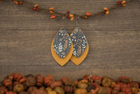 Fall Herbs Genuine Leather Leaf Earrings
