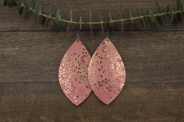 Dusty Pink and Metallic Gold Earrings