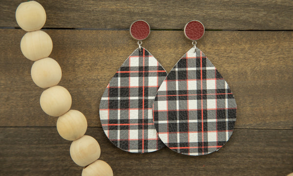 Red, White and Black Buffalo Plaid Earrings