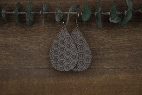 Honeycomb Genuine Leather Earrings