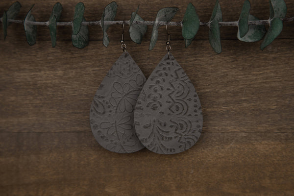 Embossed Faux Leather Earrings