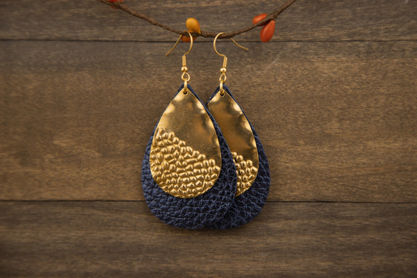 Metallic Navy Blue and Gold Earrings